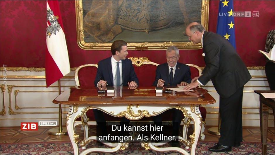 ORF untertitelt die Angelobung der österreichischen Regierung  irrtümlich mit Telenovela