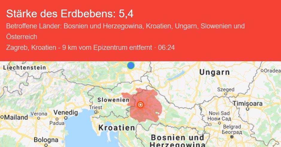 Erdbeben in Zagreb